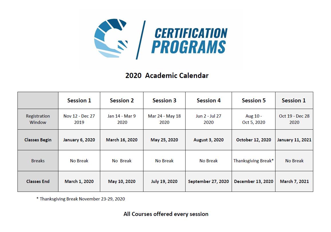 GCP Academic Calendar 2019